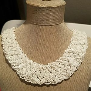 Jewelry - White seed bead collar necklace NEW spring